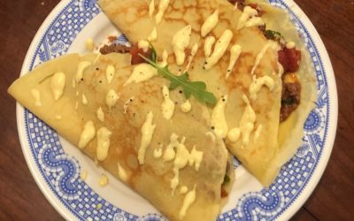 Tomato-y Beef Stuffed Crepes with Parmesan Sauce